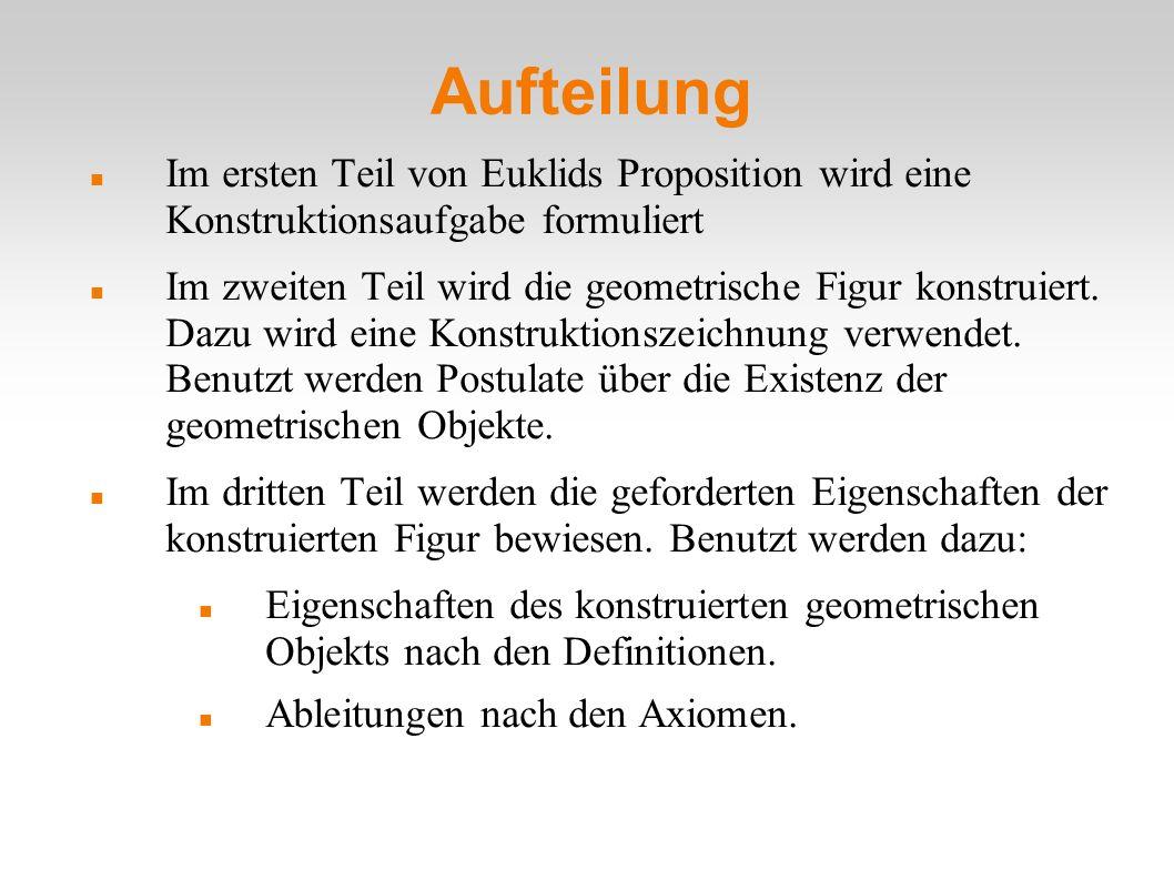 Aufteilung Im ersten Teil von Euklids Proposition wird eine Konstruktionsaufgabe formuliert.