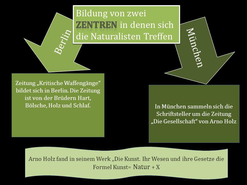 Bildung von zwei Zentren in denen sich die Naturalisten Treffen