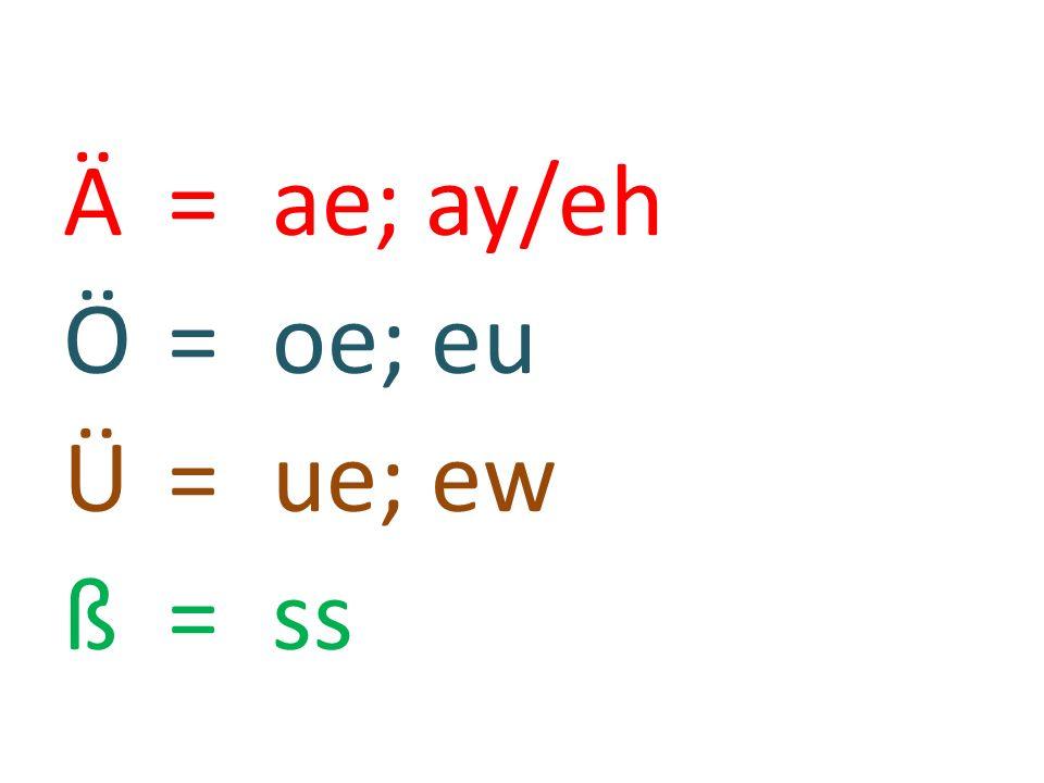Ӓ = ae; ay/eh Ö = oe; eu Ü = ue; ew ß = ss