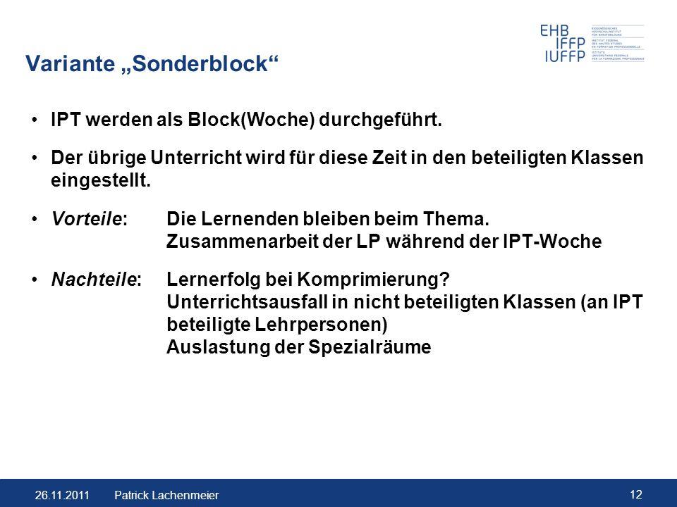 """Variante """"Sonderblock"""