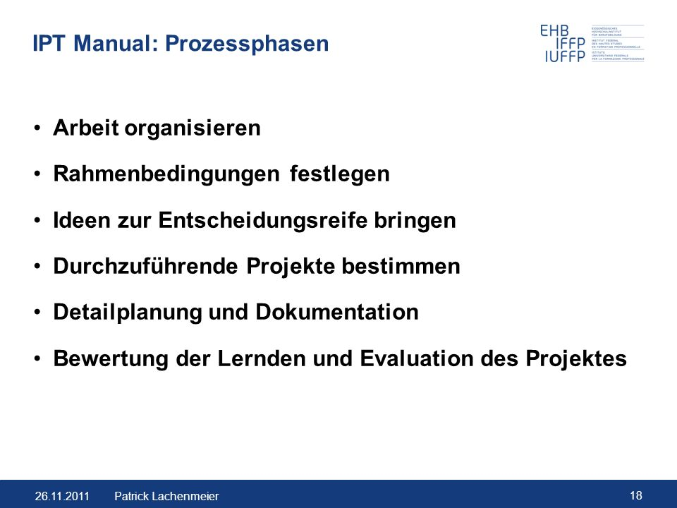 IPT Manual: Prozessphasen