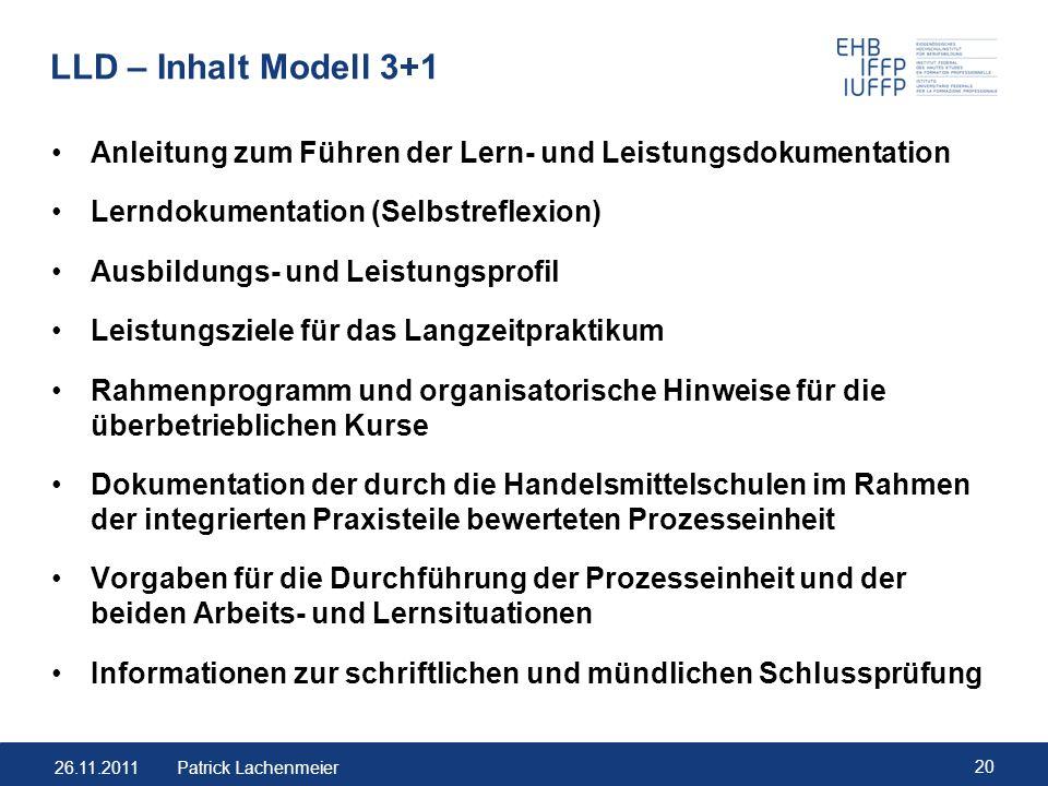 LLD – Inhalt Modell 3+1 Anleitung zum Führen der Lern- und Leistungsdokumentation. Lerndokumentation (Selbstreflexion)