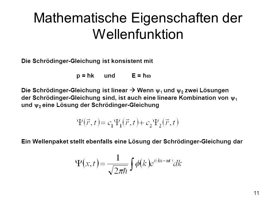 Mathematische Eigenschaften der Wellenfunktion