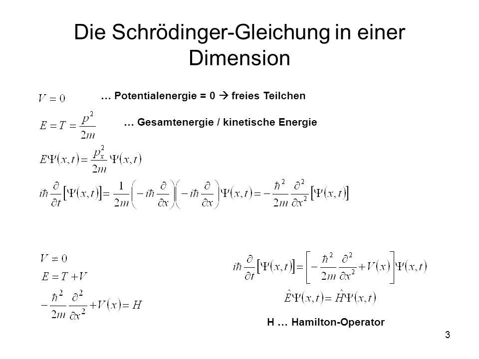 Die Schrödinger-Gleichung in einer Dimension