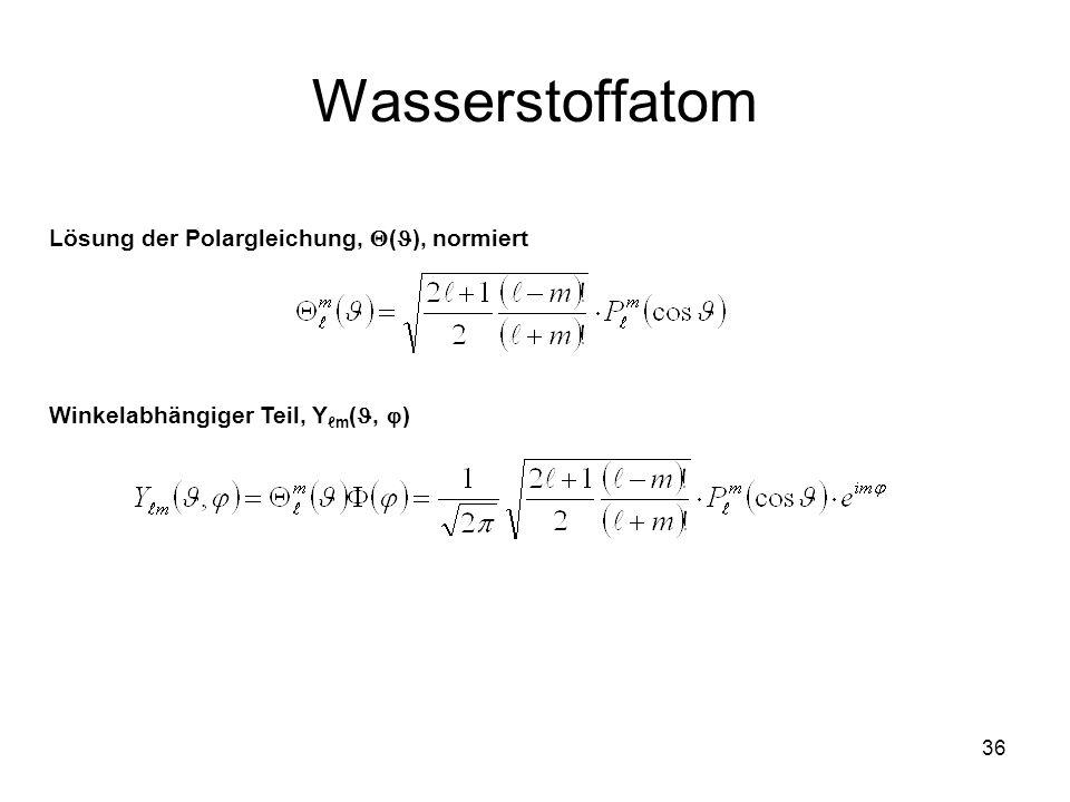 Wasserstoffatom Lösung der Polargleichung, (), normiert