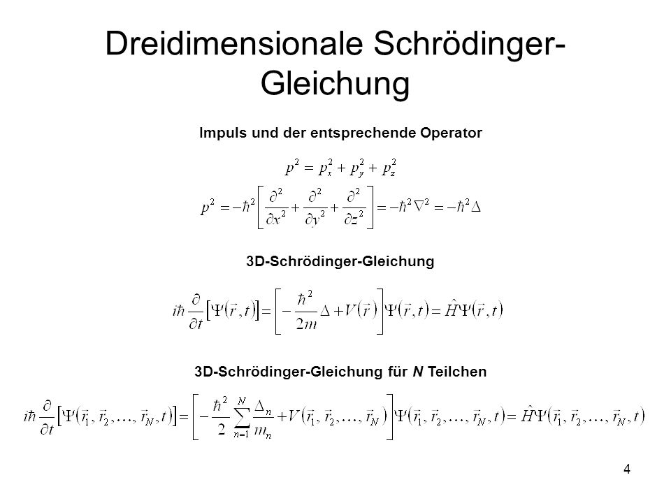 Dreidimensionale Schrödinger-Gleichung