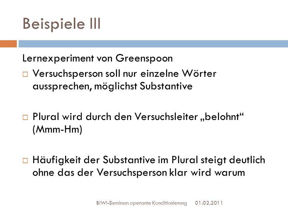 Beispiele III Lernexperiment von Greenspoon