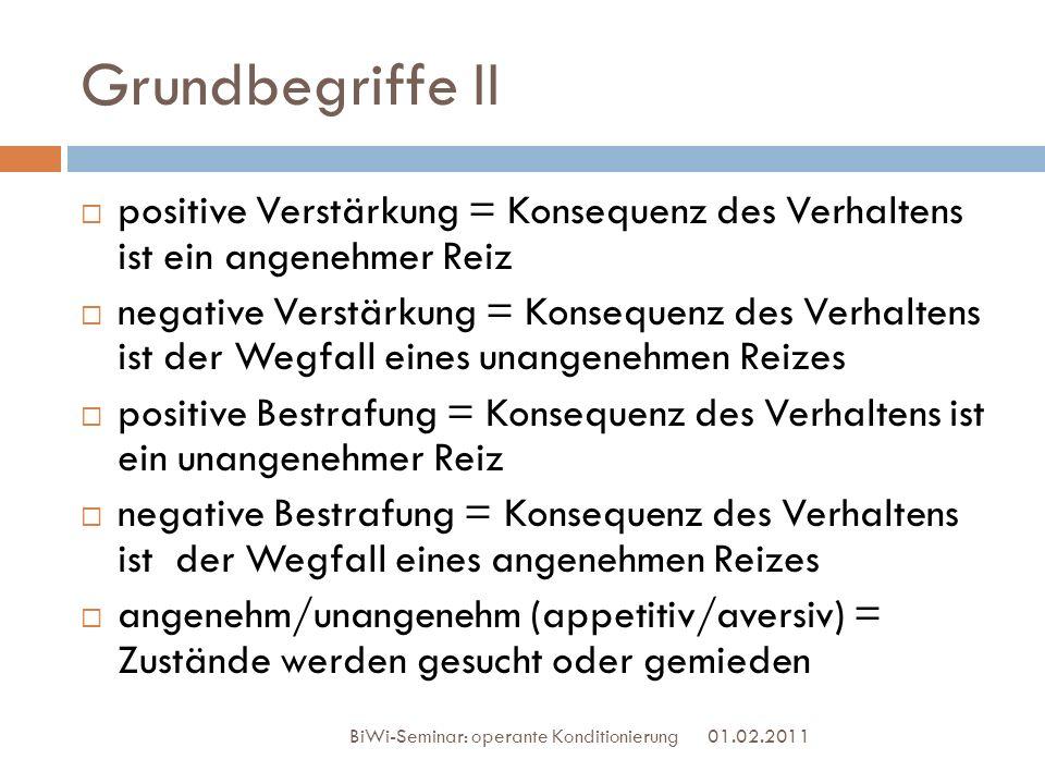 Grundbegriffe II positive Verstärkung = Konsequenz des Verhaltens ist ein angenehmer Reiz.