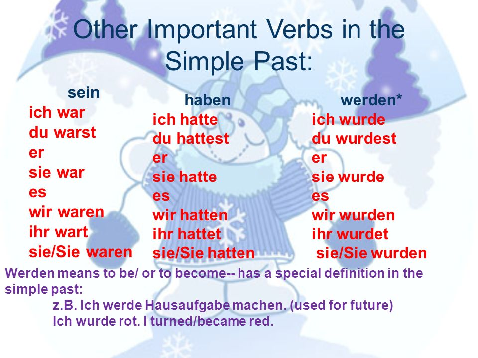 Other Important Verbs in the Simple Past: