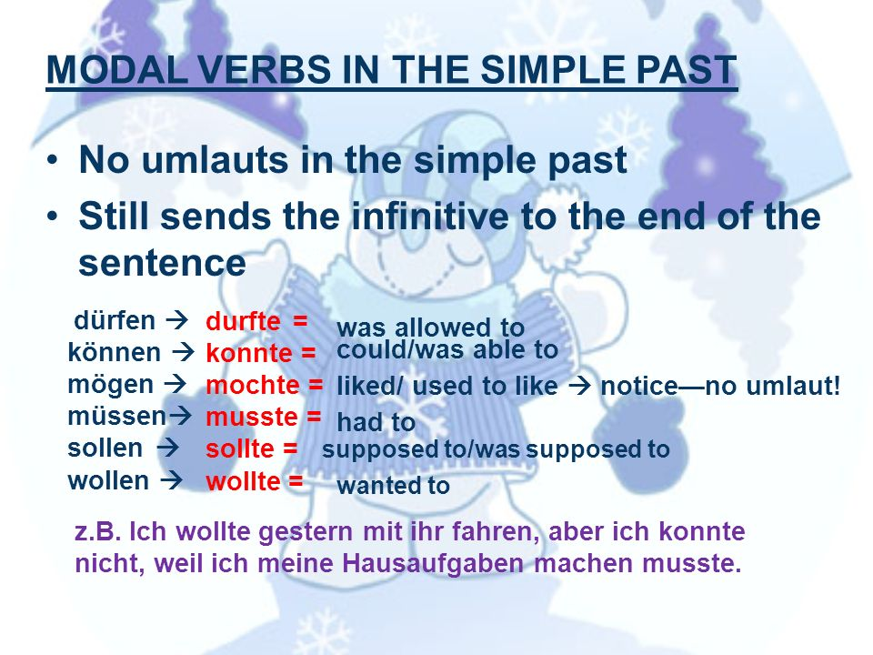 MODAL VERBS IN THE SIMPLE PAST