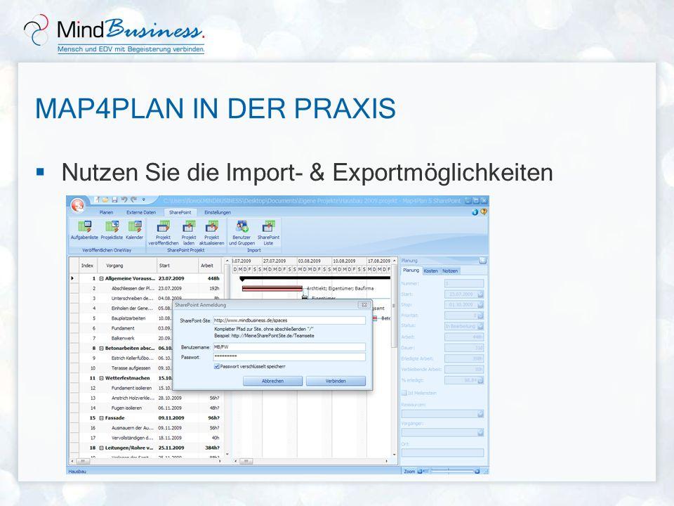 Map4Plan in der Praxis Nutzen Sie die Import- & Exportmöglichkeiten