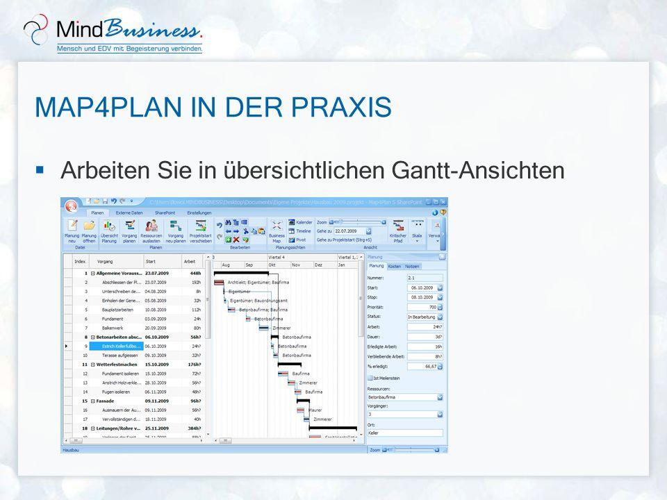 Map4Plan in der Praxis Arbeiten Sie in übersichtlichen Gantt-Ansichten