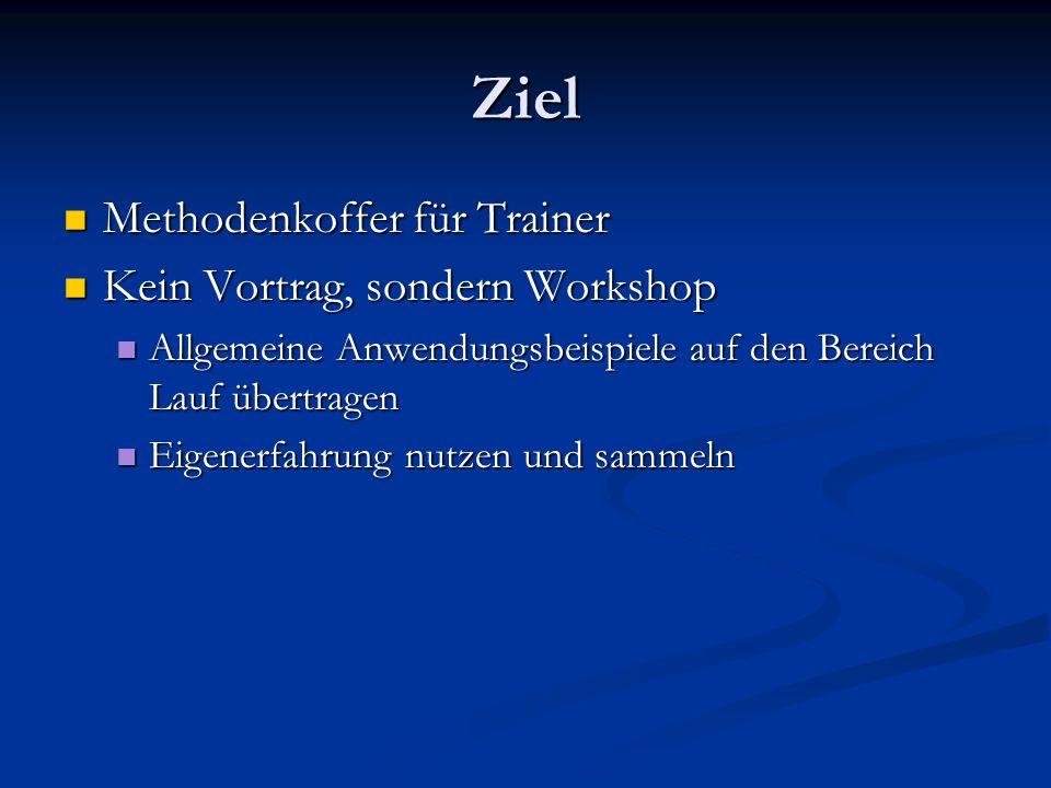 Ziel Methodenkoffer für Trainer Kein Vortrag, sondern Workshop