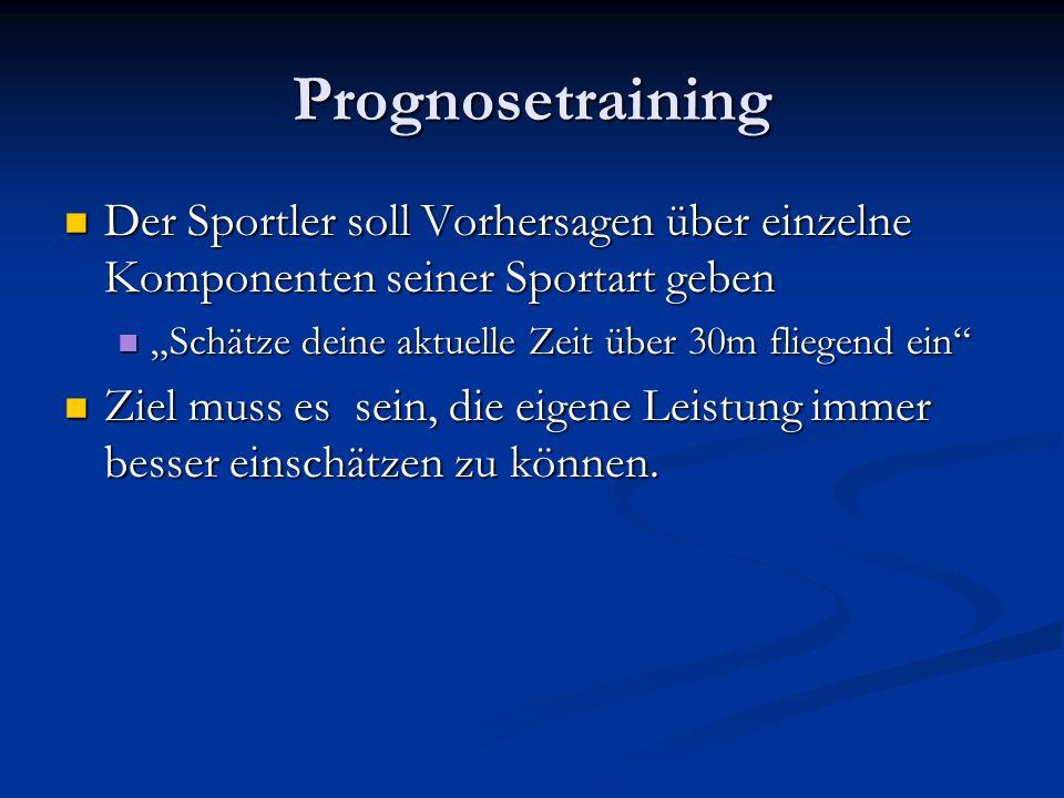 """Prognosetraining Der Sportler soll Vorhersagen über einzelne Komponenten seiner Sportart geben. """"Schätze deine aktuelle Zeit über 30m fliegend ein"""