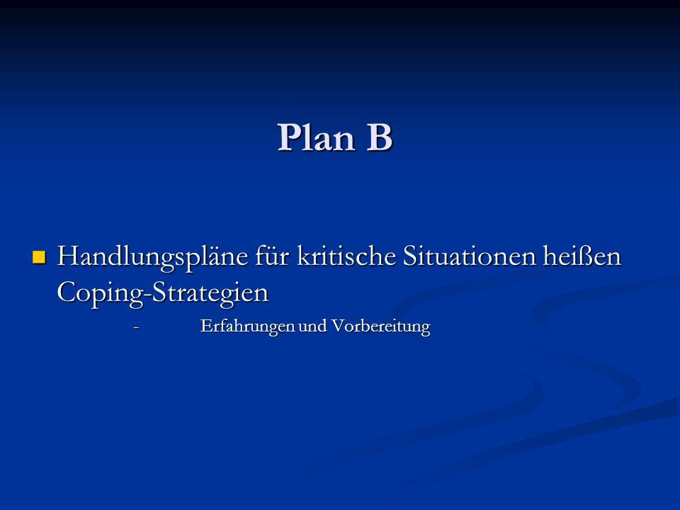 Plan B Handlungspläne für kritische Situationen heißen Coping-Strategien.