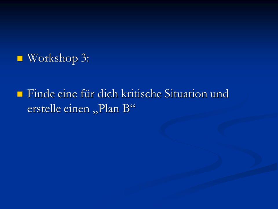 """Workshop 3: Finde eine für dich kritische Situation und erstelle einen """"Plan B"""