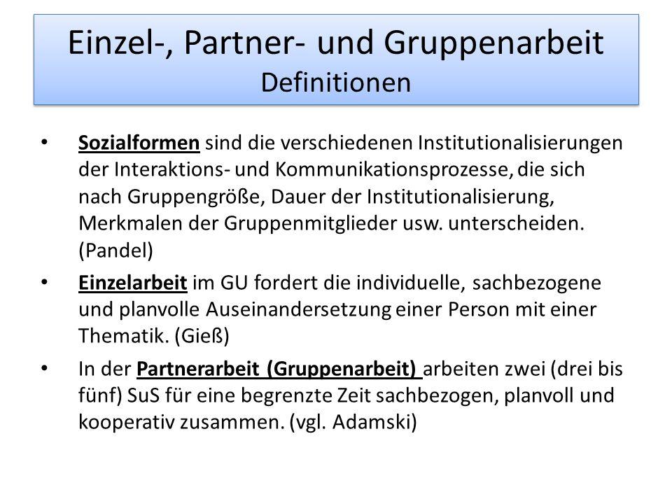 Einzel-, Partner- und Gruppenarbeit Definitionen