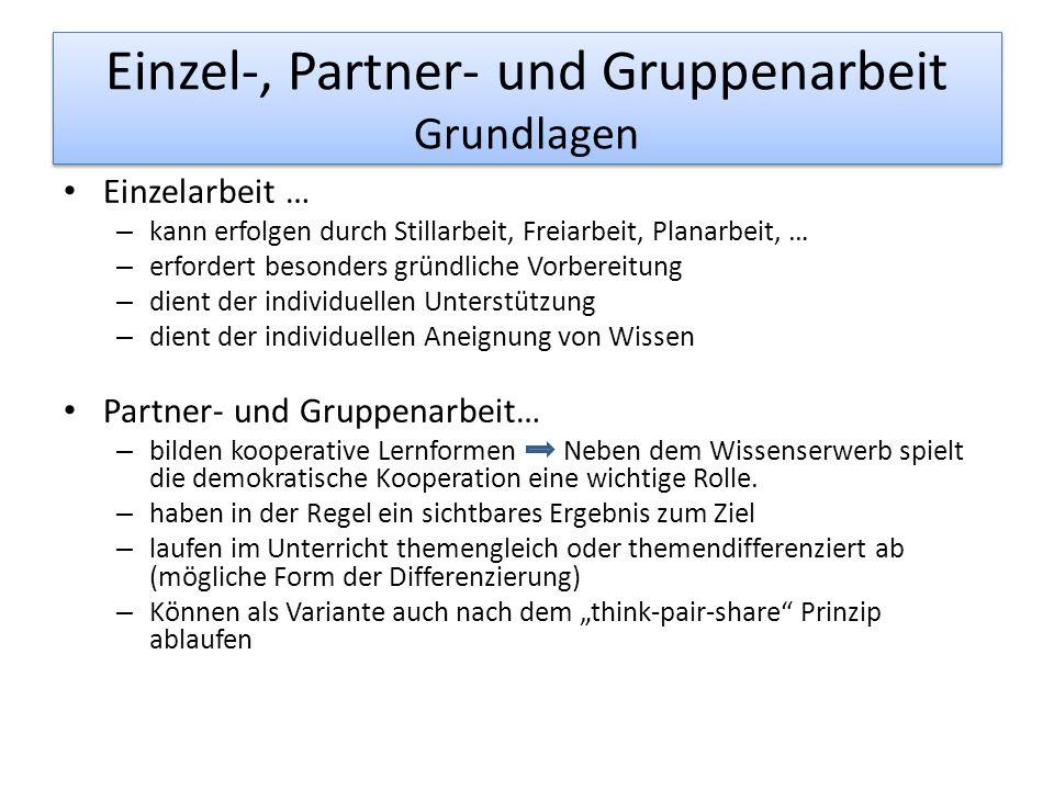 Einzel-, Partner- und Gruppenarbeit Grundlagen