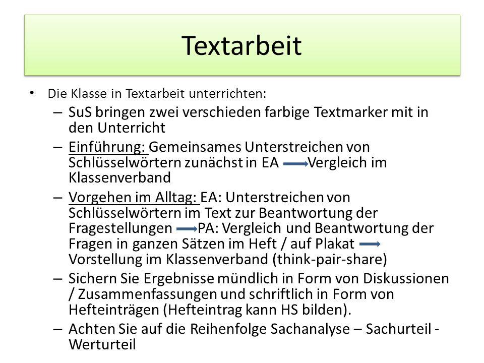 Textarbeit Die Klasse in Textarbeit unterrichten: SuS bringen zwei verschieden farbige Textmarker mit in den Unterricht.
