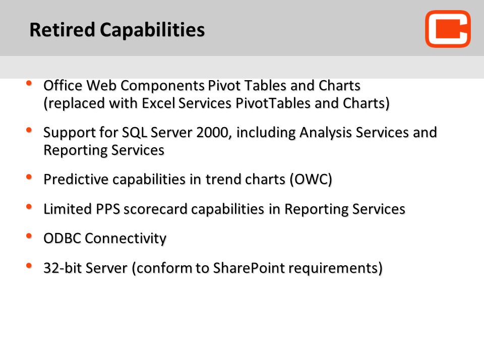 Retired Capabilities Office Web Components Pivot Tables and Charts (replaced with Excel Services PivotTables and Charts)