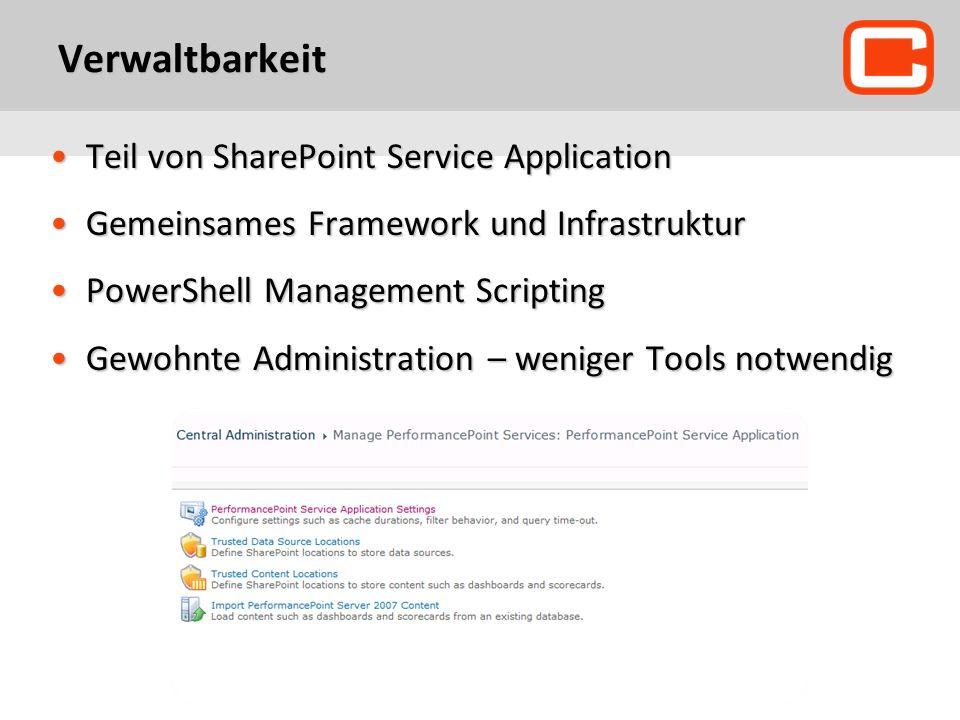 Verwaltbarkeit Teil von SharePoint Service Application