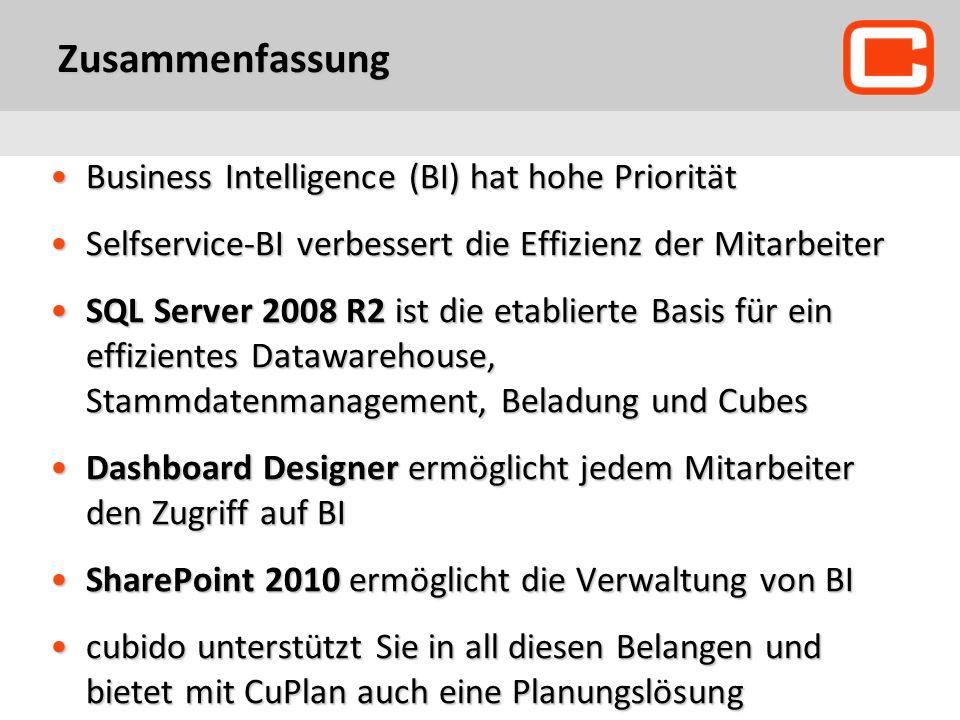 Zusammenfassung Business Intelligence (BI) hat hohe Priorität
