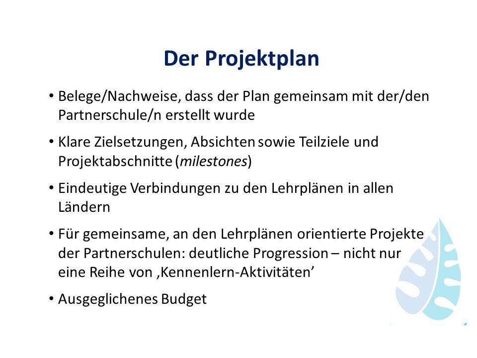 Der Projektplan Belege/Nachweise, dass der Plan gemeinsam mit der/den Partnerschule/n erstellt wurde.