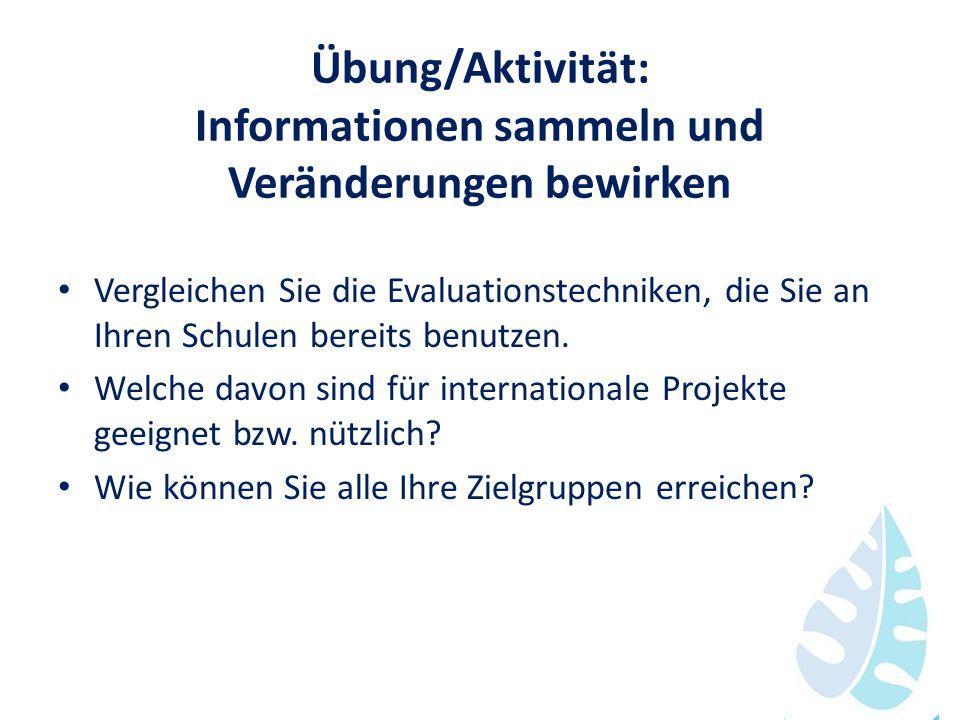 Übung/Aktivität: Informationen sammeln und Veränderungen bewirken