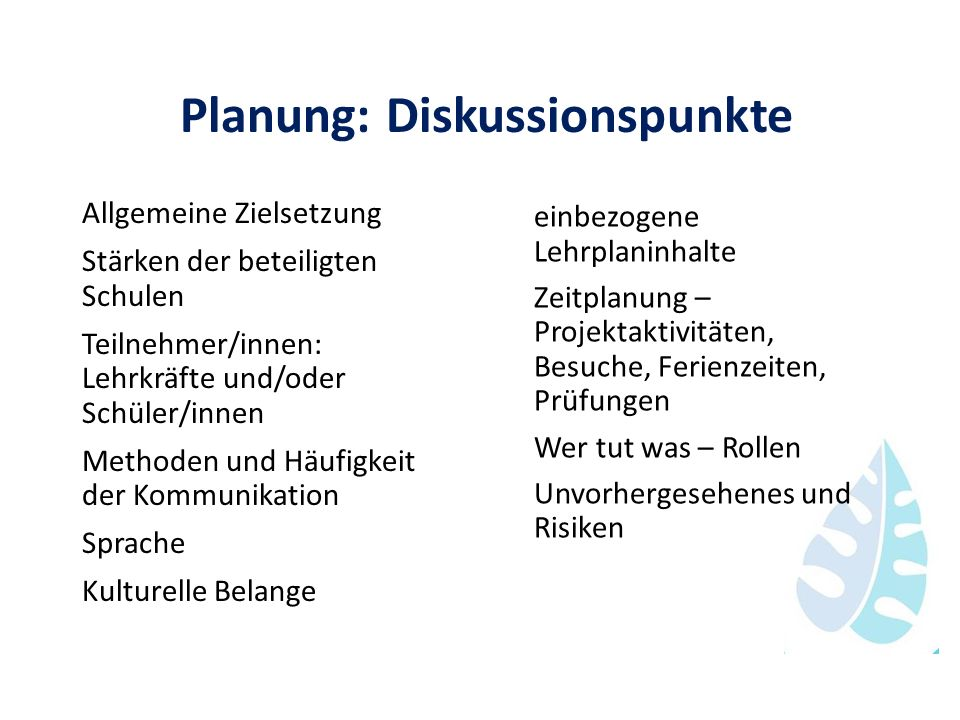 Planung: Diskussionspunkte