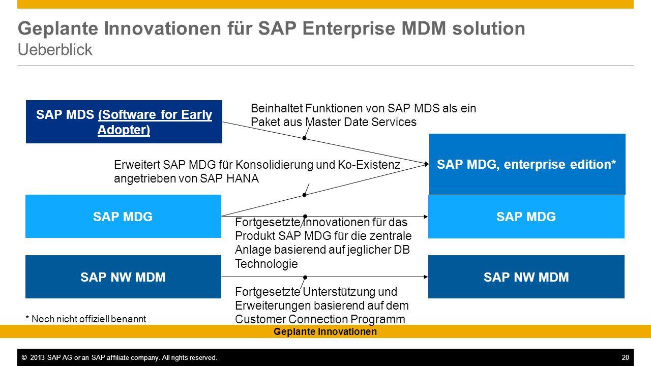 Geplante Innovationen für SAP Enterprise MDM solution Ueberblick