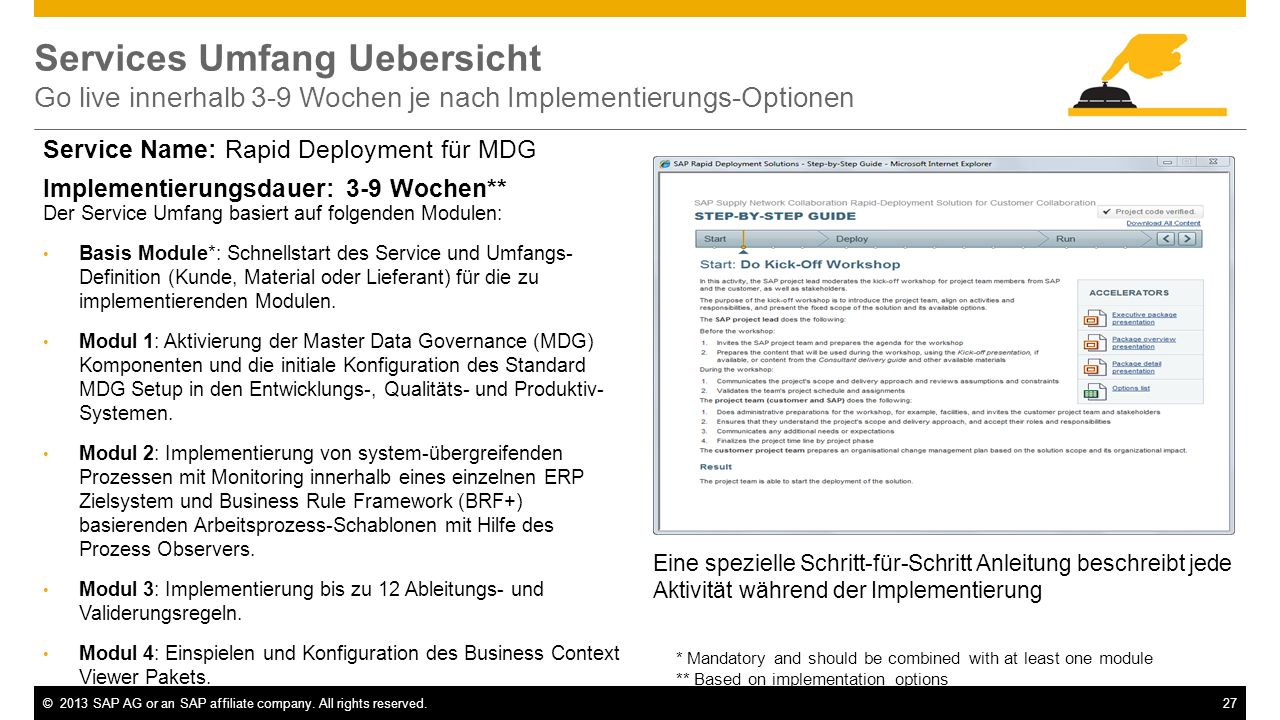 Services Umfang Uebersicht Go live innerhalb 3-9 Wochen je nach Implementierungs-Optionen