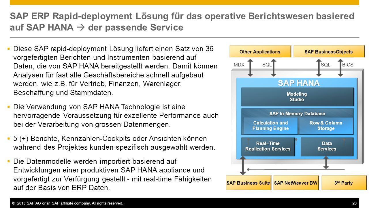 SAP ERP Rapid-deployment Lösung für das operative Berichtswesen basiered auf SAP HANA  der passende Service