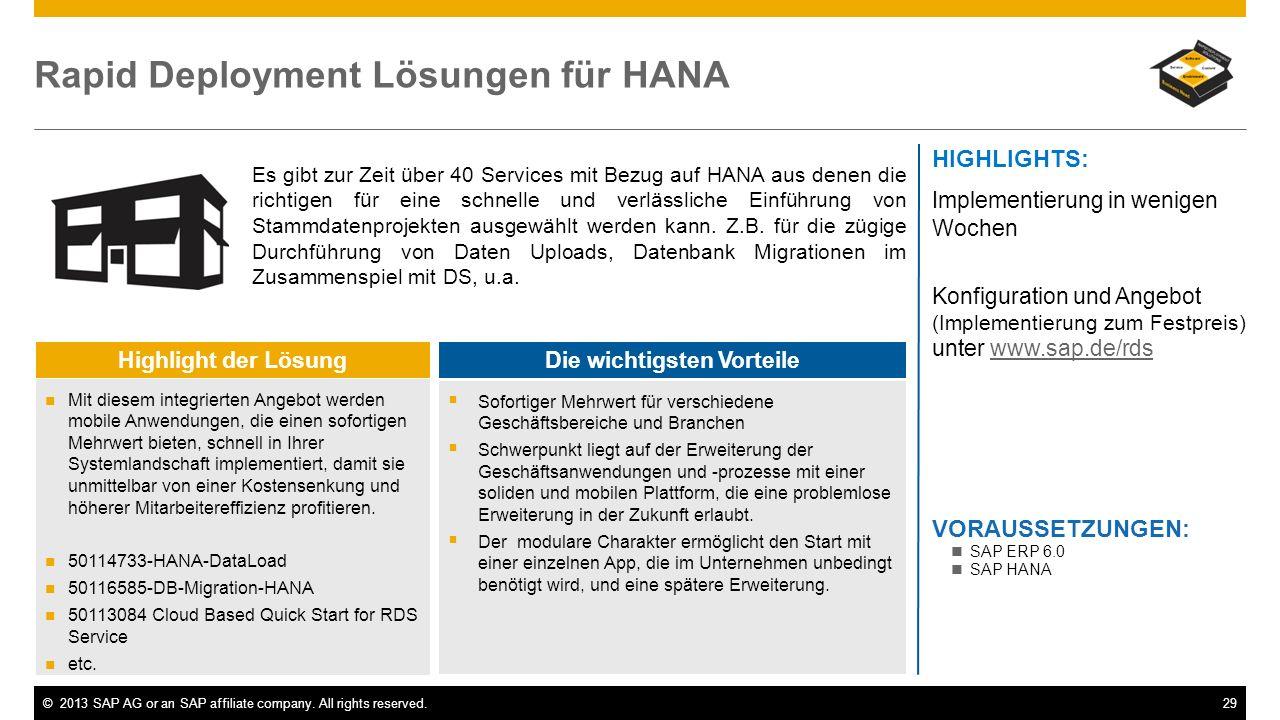 Rapid Deployment Lösungen für HANA