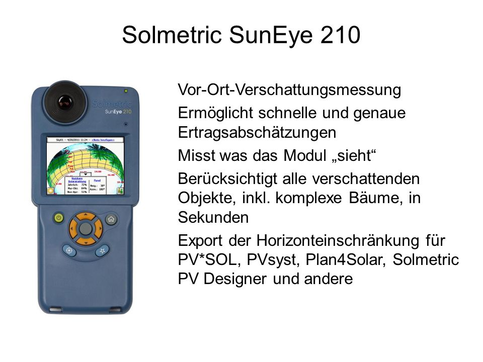 Solmetric SunEye 210 Vor-Ort-Verschattungsmessung