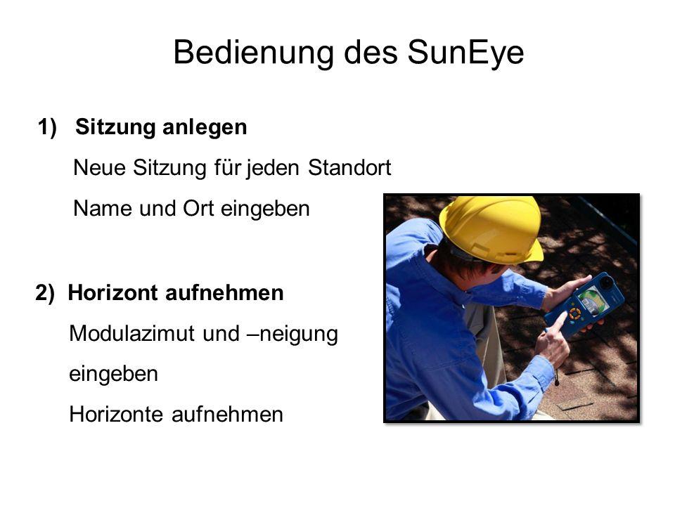 Bedienung des SunEye Sitzung anlegen Neue Sitzung für jeden Standort