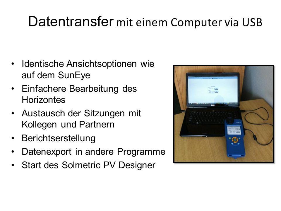 Datentransfer mit einem Computer via USB