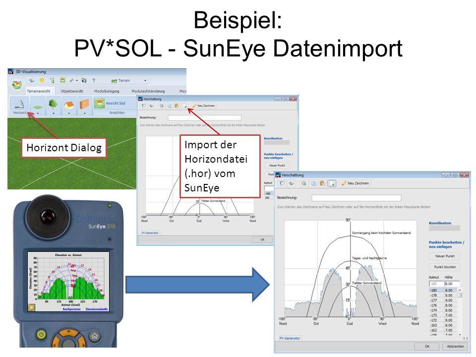 Beispiel: PV*SOL - SunEye Datenimport