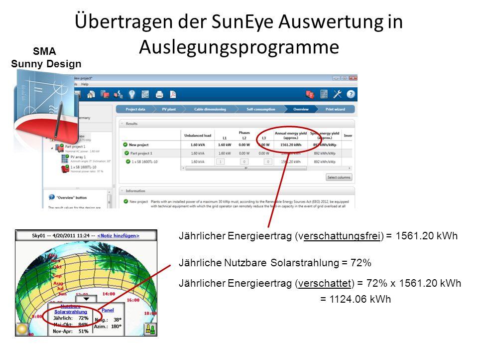 Übertragen der SunEye Auswertung in Auslegungsprogramme