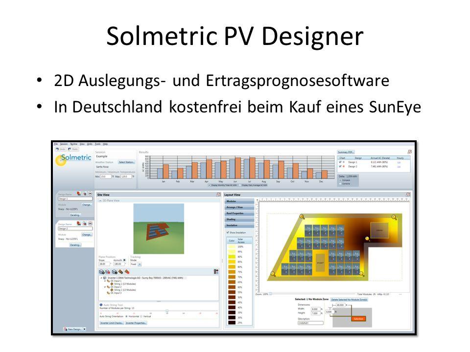 Solmetric PV Designer 2D Auslegungs- und Ertragsprognosesoftware