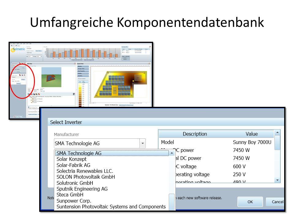 Umfangreiche Komponentendatenbank