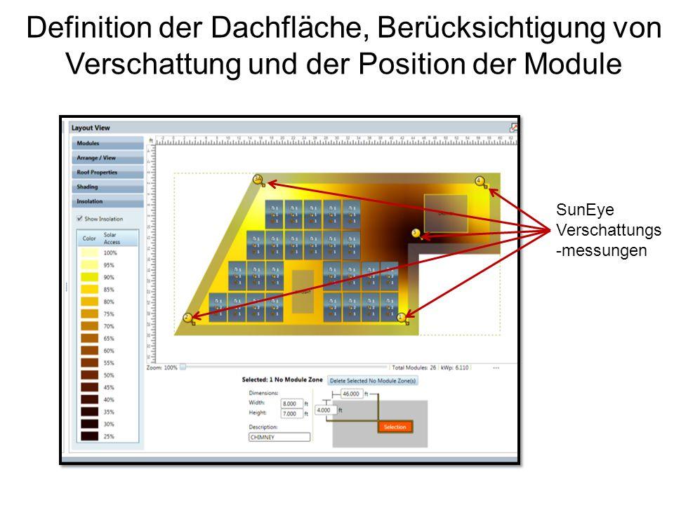 Definition der Dachfläche, Berücksichtigung von Verschattung und der Position der Module
