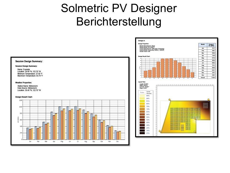 Solmetric PV Designer Berichterstellung
