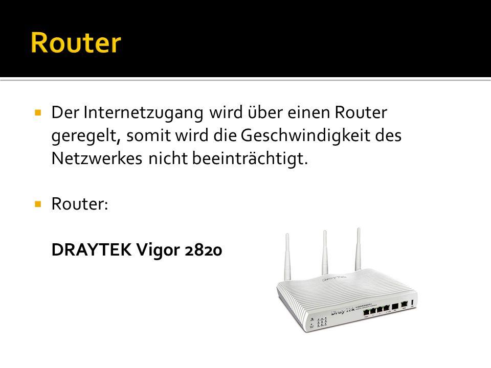 Router Der Internetzugang wird über einen Router geregelt, somit wird die Geschwindigkeit des Netzwerkes nicht beeinträchtigt.