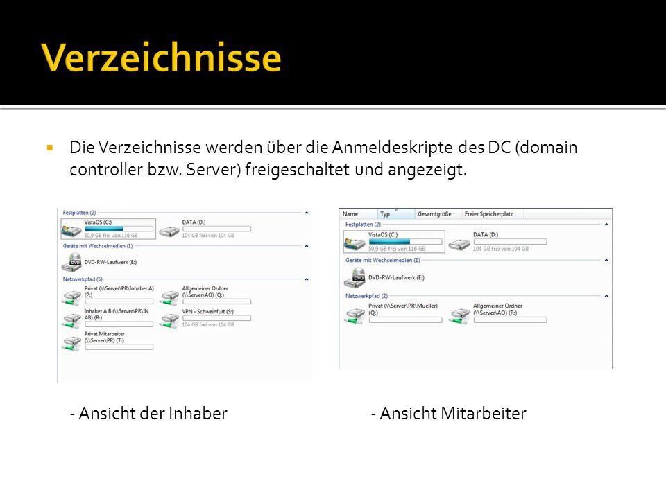 Verzeichnisse Die Verzeichnisse werden über die Anmeldeskripte des DC (domain controller bzw. Server) freigeschaltet und angezeigt.