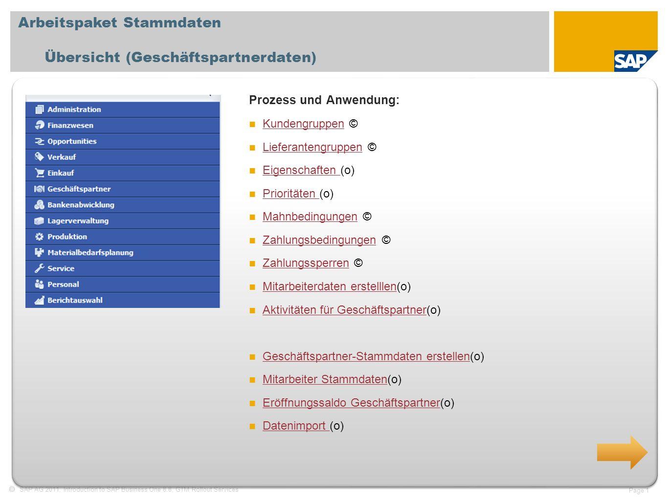 Arbeitspaket Stammdaten Übersicht (Geschäftspartnerdaten)