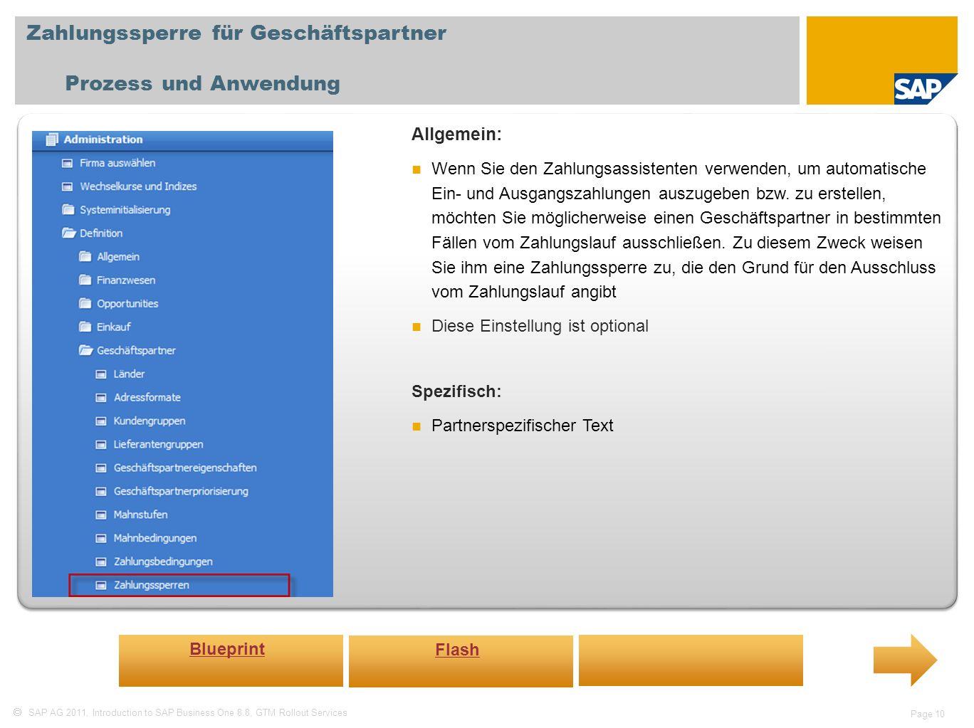 Zahlungssperre für Geschäftspartner Prozess und Anwendung
