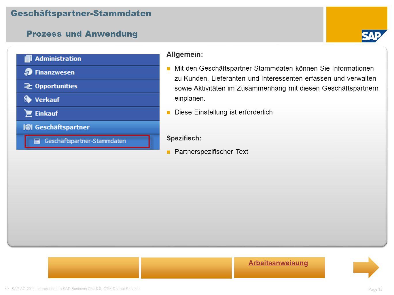 Geschäftspartner-Stammdaten Prozess und Anwendung