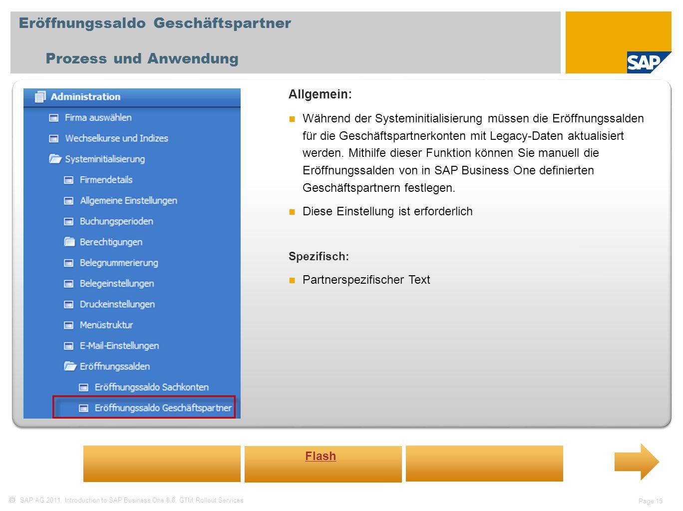 Eröffnungssaldo Geschäftspartner Prozess und Anwendung
