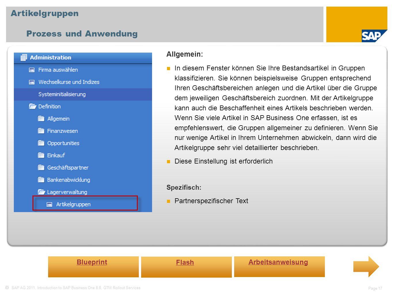 Artikelgruppen Prozess und Anwendung Allgemein:
