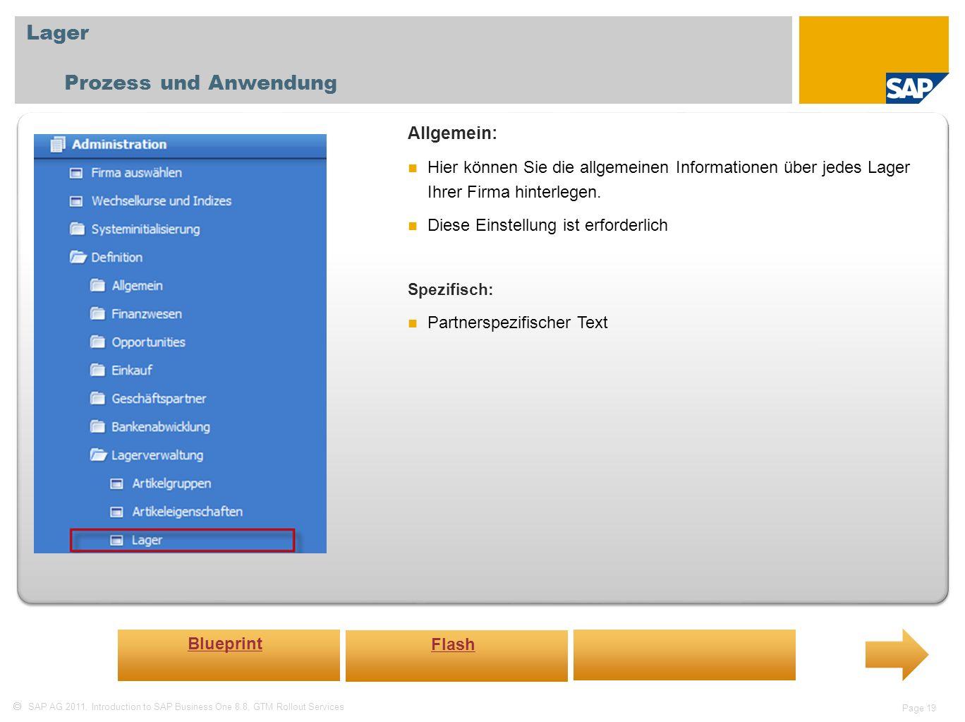 Lager Prozess und Anwendung Allgemein: